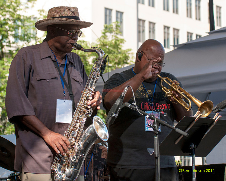 Umar Rhaheem and Tony Smith performing as part of the  2012 Clifford Brown Jazz Festival in Rodney Square in Wilmington Delaware, June 18-23, 2012.