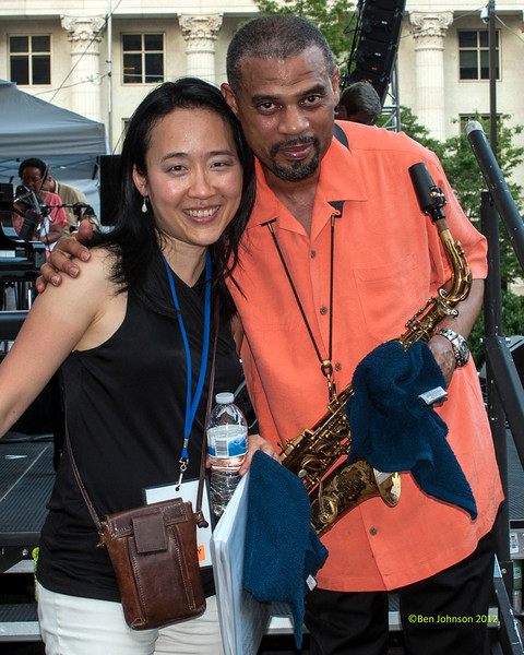 Helen Sung and Steve Wilson performing as part of the  2012 Clifford Brown Jazz Festival in Rodney Square in Wilmington Delaware, June 18-23, 2012
