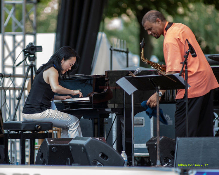 Helen Sung with Steve Wilson performing as part of the  2012 Clifford Brown Jazz Festival in Rodney Square in Wilmington Delaware, June 18-23, 2012.