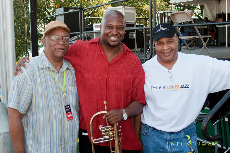2009 Detroit Jazz Festival Photos, Bootsie Barnes, Sean Jones and Al Pryor, backstage at The 30th Annual Detroit Jazz Festival held September 4-7, 2009 at Hart Plaza in downtown Detroit, Michigan