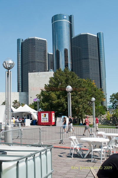 2009 Detroit Jazz Festival Photos,View of GM Headquarters and The Marriot from the Waterfront Stage at The 30th Annual Detroit Jazz Festival held September 4-7, 2009 at Hart Plaza in downtown Detroit, Michigan