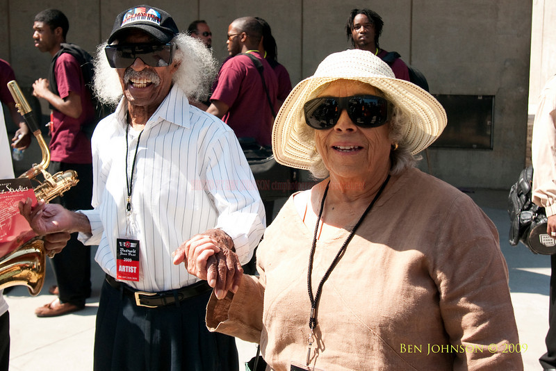 2009 Detroit Jazz Festival Photos -  Gerald Wilson and Josefina Wilson backstage at The 30th Annual Detroit Jazz Festival held September 4-7, 2009 at Hart Plaza in downtown Detroit, Michigan