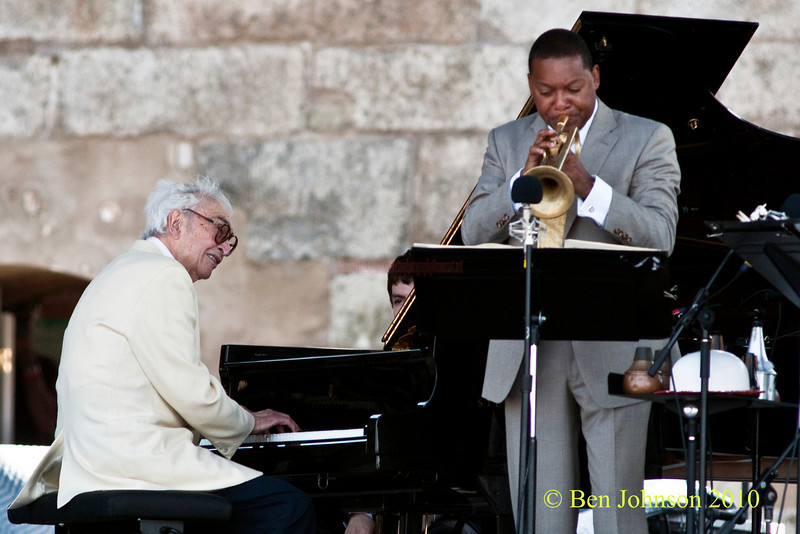 Dave Brubeck and Wynton Marsalis photo - performing at The 2010 Carefusion Jazz Festival in Newport, Rhode Island at Fort Adams State park. The 56th anniversary of the Jazz Festival produced by Founder George Wein