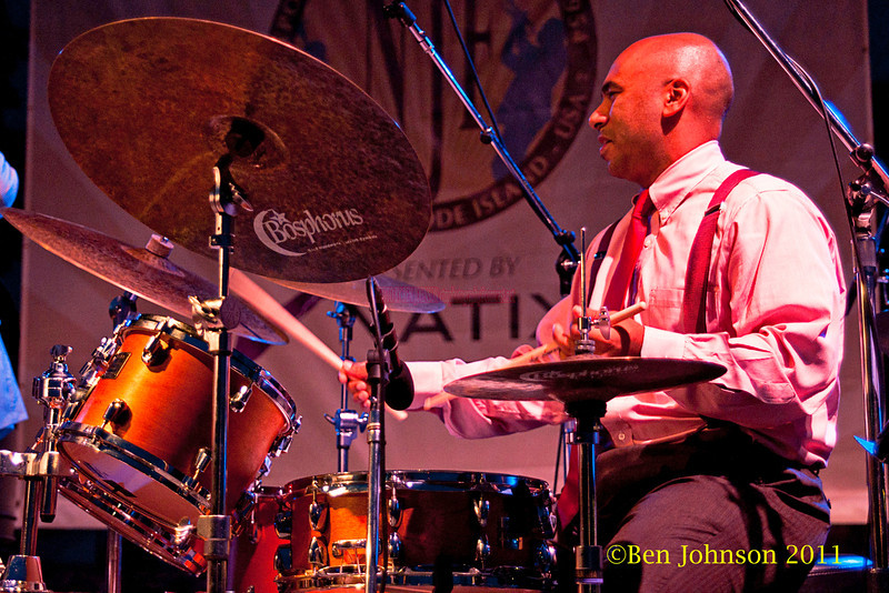 Ali Jackson performs at The Tennis Hall of Fame on the first night of the 2011 Newport Jazz Festival, August 5, 2011