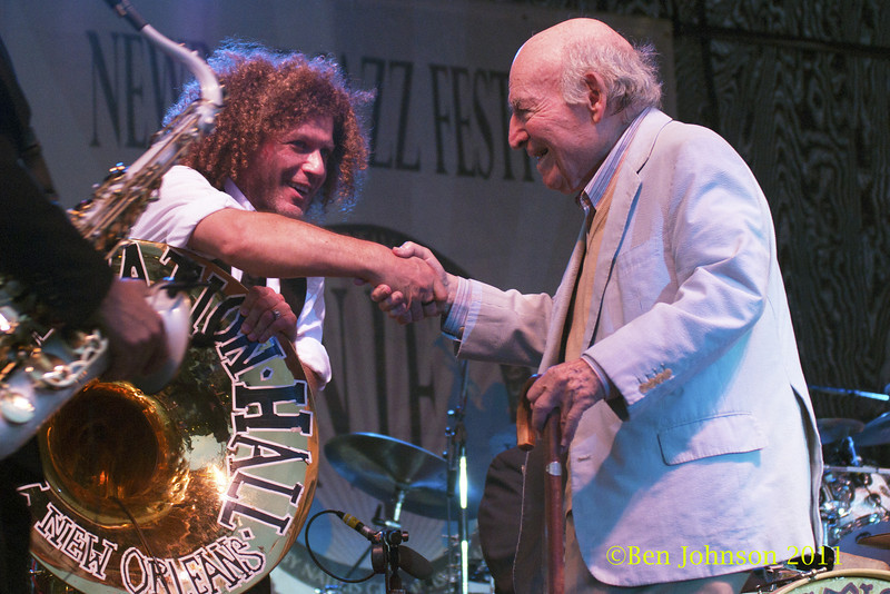Ben Jaffe and George Wein photo - The 2012 Newport Jazz Festival, August 3-7, 2012 at The Tennis Hall of Fame and Fort Adams State Park in Newport Rhode Island.