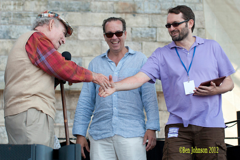 NNewport Jazz Festival Founder George Wein is presented the 2012 Voll-Damm Barcelona International Jazz Gold Medal award by Joan Anton  Cararach August 4, 2012 with Jazz Festival Producer Dan Melnick, and John Hailer. CEO/President from Natixis Global Management