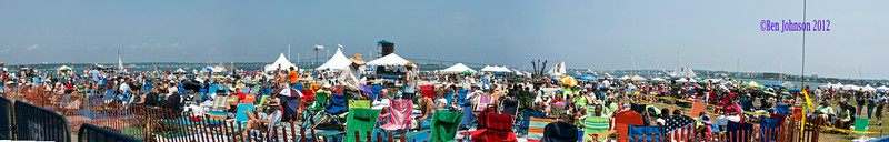A view of the crowd attending The 2012 Newport Jazz Festival, August 5, 2012 at  in Fort Adams State Park, Newport Rhode Island.