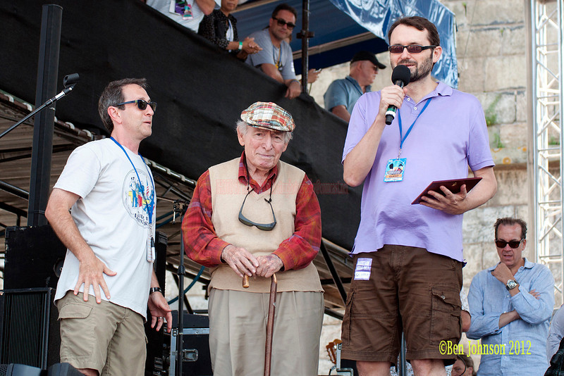 Newport Jazz Festival Founder George Wein is presented the 2012 Voll-Damm Barcelona International Jazz Gold Medal award by Joan Anton  Cararach August 4, 2012 with Jazz Festival Producer Dan Melnick, and John Hailer. CEO/President from Natixis Global Management