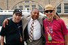 WGBH's Eric Jackson, Wynton Marsalis and perussionist Neil Clarke backstage at the 2011 Newport Jazz Festival.