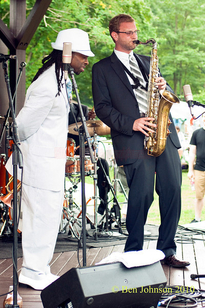 Mario Abney and saxophonist Josh Atkin photo - Performing at The 33rd ANNUAL FREIHOFER'S SARATOGA JAZZ FESTIVAL June 26 - 27, 2010, at The Saratoga Performing Arts Center in Saratoga, NY