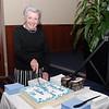 Jenny Gorrel cutting the birthday cake