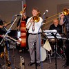 """A trombone duet is special!  Geoff Power and David Saxon """"going to town"""" with Peter Massey (guitar) and Al Harrison (drums) in the background."""