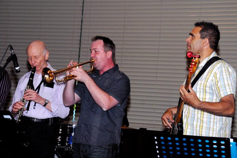 David Kennedy (sax), Andrew Heap (trumpet), Geoff Simpson (bass)