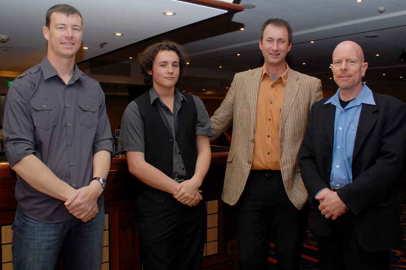 Left to right: Steve Turner (drums), Riley Ferguson (guitar), Wayne Robinson, (keyboard and vocal), Steve O'Connell (sax).