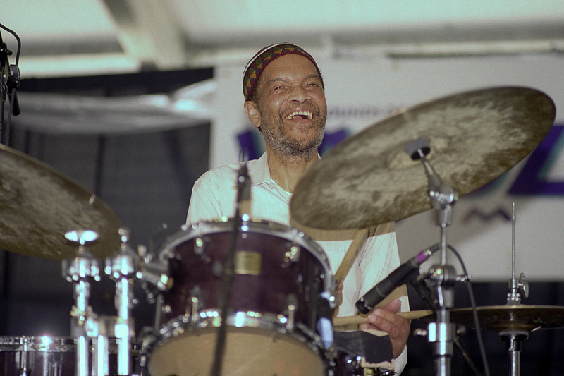 Billy Higgins performs with Charles Lloyd at the New Orleans Jazz Festival on April 25, 1999