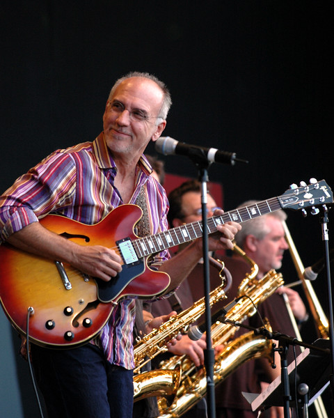 Larry Carlton performs with his blues band at the Monterey Jazz Festival on 9-17-05.