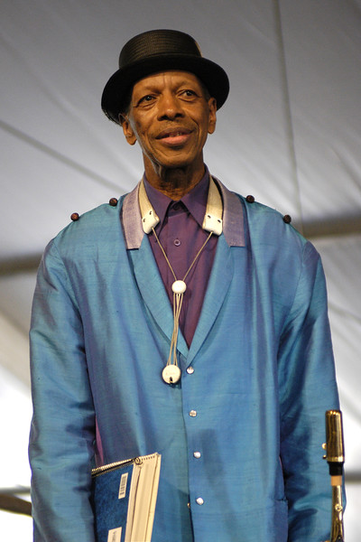 Ornette Coleman performing live on stage at the New Orleans Jazz & Heritage Festival on April 26, 2003.