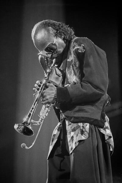 Miles Davis performs at the U.C. Berkeley Jazz Festival at the Greek Theater in Berkeley, CA on September 1, 1985