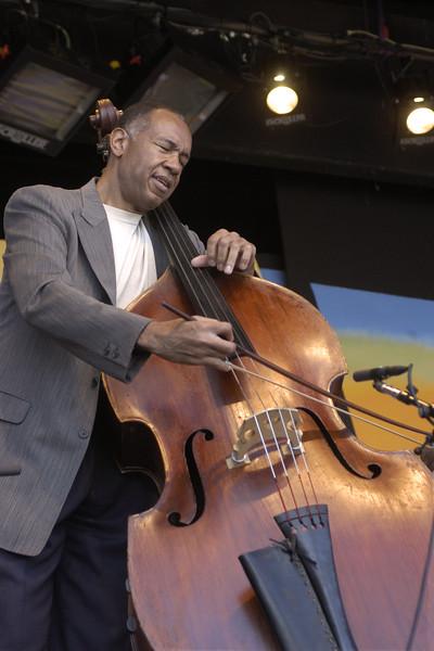 John Clayton performs with the Clayton-Hamilton Big Band at the Monterey Jazz Festival on September 21, 2003.
