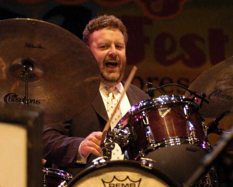 Jeff Hamilton performs with the Clayton-Hamilton Big Band at the Monterey Jazz Festival on September 21, 2003.