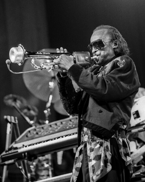 Miles Davis performs at the U.C. Jazz Festival at the Greek Theater in Berkeley, CA on September 1, 1985.