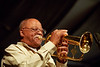 Clark Terry performs with the Carnegie Hall Jazz Band at the New Orleans Jazz & Heritage Festival on April 29, 2001.