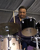Chico Hamilton performs with his band Euphoria at the New Orleans Jazz & Heritage Festival on April 25, 2003.