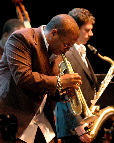 Terence Blanchard, along with saxophonist Brice Winston. performs at the Monterey Jazz Festival on September 22, 2007.