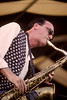 Michael Brecker performs with the Brecker Brothers  at the New Orleans Jazz & Heritage Festival on April 29, 1995.