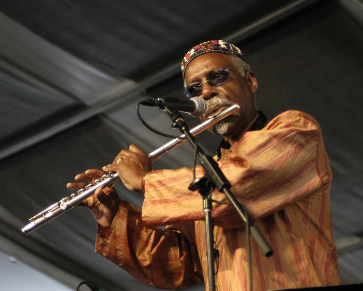 "David ""Fathead"" Newman performs live with Herbie Mann at the New Orleans Jazz & Heritage Festival on May 3. 2003."