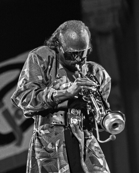 Miles Davis performs at the Greek Theater as part of Berkeley's U.C. Jazz Festival on 9-1-85.