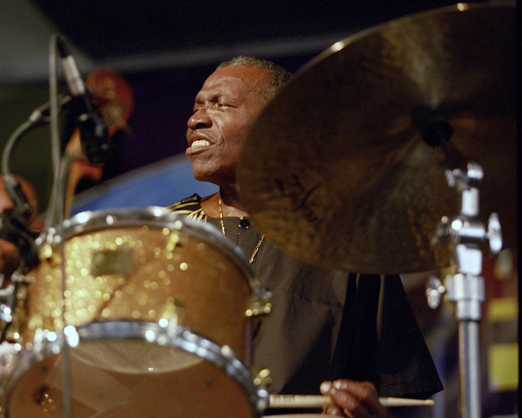 Elvin Jones performs at the New Orleans Jazz & Heritage Festival on May 5, 2001.