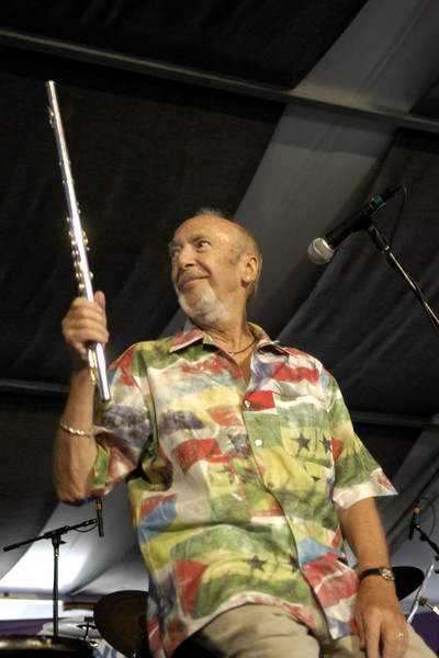 Herbie Mann performs at the New Orleans Jazz & Heritage Festival on May 3, 2003.