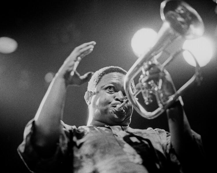 Hugh Masakela performs at Kimball's East in Emeryville, CA in 1992.