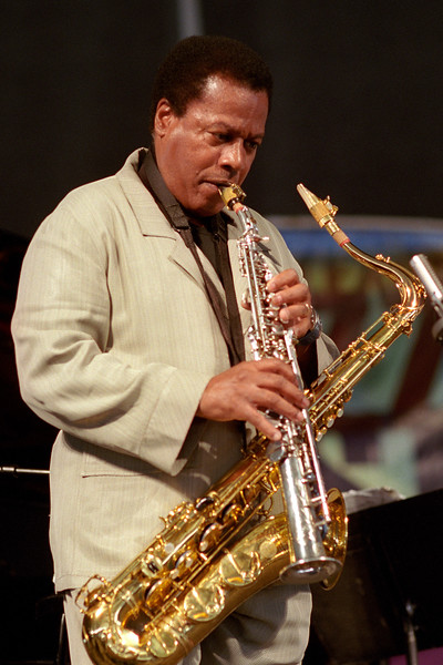 Wayne Shorter performing live on stage at the New Orleans Jazz & Heritage Festival on April 27, 2002.