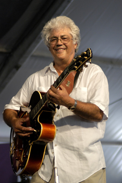 Larry Coryell performs with Herbie Mann at the New Orleans Jazz & Heritage Festival on May 3, 2003.