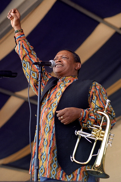 Hugh Masakela performs at the New Orleans Jazz & Heritage Festival on May 1, 1999.