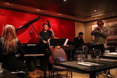 Pianist Anke Helfrich with Martin Wind on Bass, Jonas Burgwinkel on Drums and Tim Hagans on trumpet.