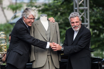 """Author Douglas Preston with Eddie Daniels - """"Benny's Threads"""" - That's one of Benny Goodman's suits that was given to Douglas."""