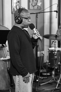 Kenny Washington performing in a live studio session at KNKX 88.5 Jazz Blues and NPR News