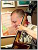 Copenhagen Jazz Festival 2010. Bob Rockwell Quartet feat. Anders Bergcrantz i JazzCup fradag 9. juli 2010  Bob Rockwell (ts), Kasper Villaume (p), Thomas Ovesen (b), Karsten Bagge (dr) and Anders Bergcrantz (S)(tp,flh)<br /> <br /> Her Thomas Ovesen på basPhoto  Torben Christensen © Copenhagen