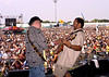 NEW ORLEANS, LA-MAY 3: (L-R): Brian Stoltz and George Porter, Jr. performing at the New Orleans Jazz & Heritage Festival on May 3, 2003. (Photo by Clayton Call/Redferns)