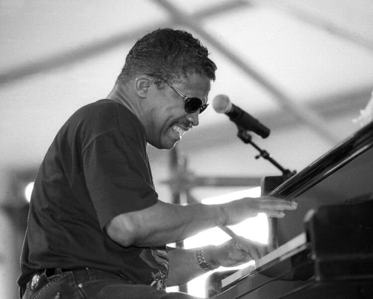 Herbie Hancock performing live on stage at the New Orleans Jazz & Heritage Festival on May 3, 1997.