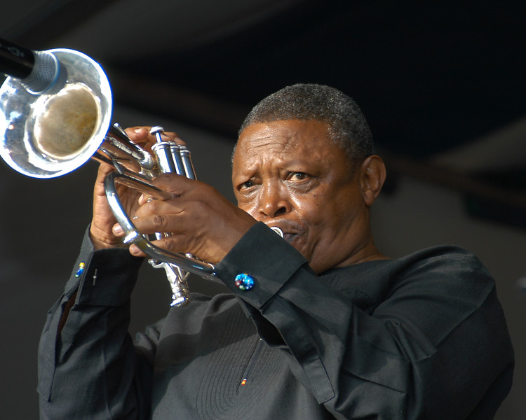 Hugh Masakela performing at the New Orleans Jazz & Heritage Festival on May 2, 2004.