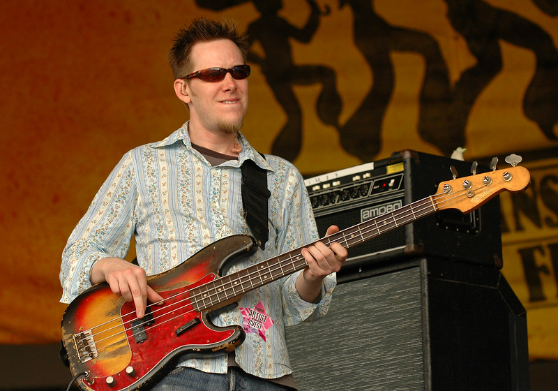 Rob Mercurio performs with Galactic at the New Orleans Jazz  & Heritage Festival on April 30, 2005.