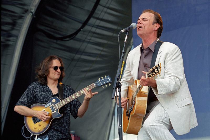 John Hiatt and Sonny Landreth perform at the New Orleans Jazz & Heritage Festival on May 5, 2000.