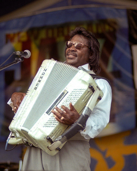 Buckwheat Zydeco performing at the New Orleans Jazz & Heritage Festival on May 5, 2002.