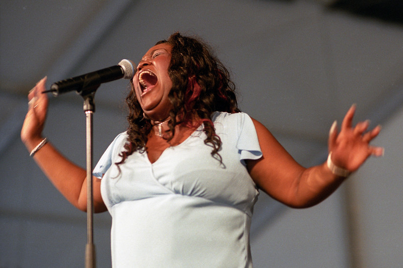 Shemekia Copeland performs in the Blues Tent at the New Orleans Jazz & Heritage Festival on April 26, 2002.