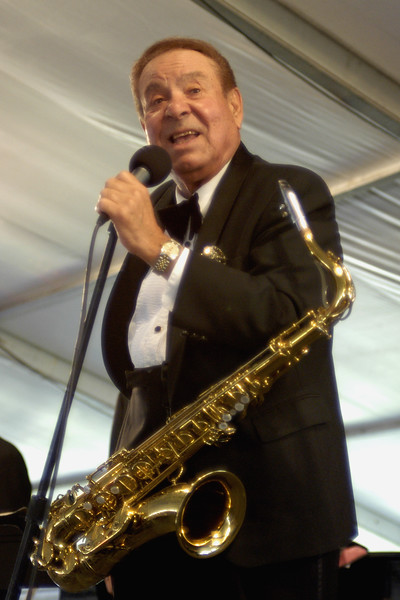 Sam Butera & The Wildest performing at the New Orleans Jazz & Heritage Festival on April 26, 2003.