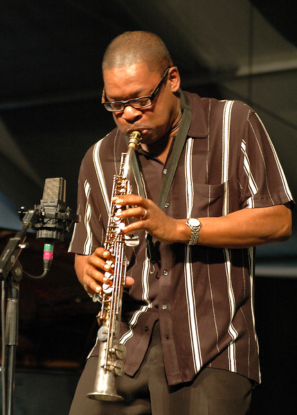 Ravi Coltrane performs with McCoy Tyner at a Tribute to John Coltrane at the New Orleans Jazz & Heritage Festival on May 1st, 2005
